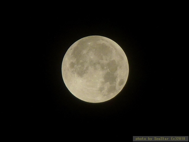 半影食開始直後,ほぼ満月