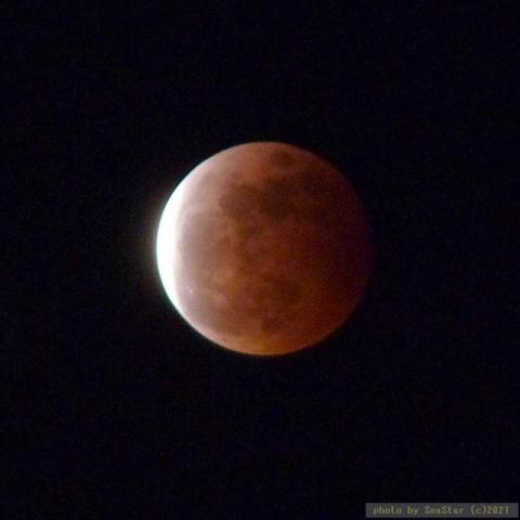 2021/05/26 20:39頃,皆既後復元中,赤銅色の月